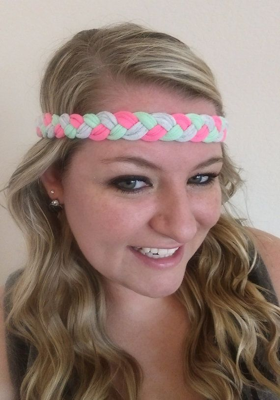 Bright Pink, Mint Green, and Light Gray Traditional Braided Stay Put Athletic Headband Headwrap In Newborn, Baby, Toddler, Child, Kid, Teen, & Adult Sizes! No Slip Headache Free Headbands are Perfect for Team Sports, Cheer, Vollyeball, Running, Yoga, Basketball, Matching Mother Daughter Sister Twin Friend Matching Family Photos, Photo Props, Sorority Bid Day Gifts, Big Little Gifts, Rush, New Baby Gifts, Baby Shower Gifts,& Birthday Gifts by petesboutique