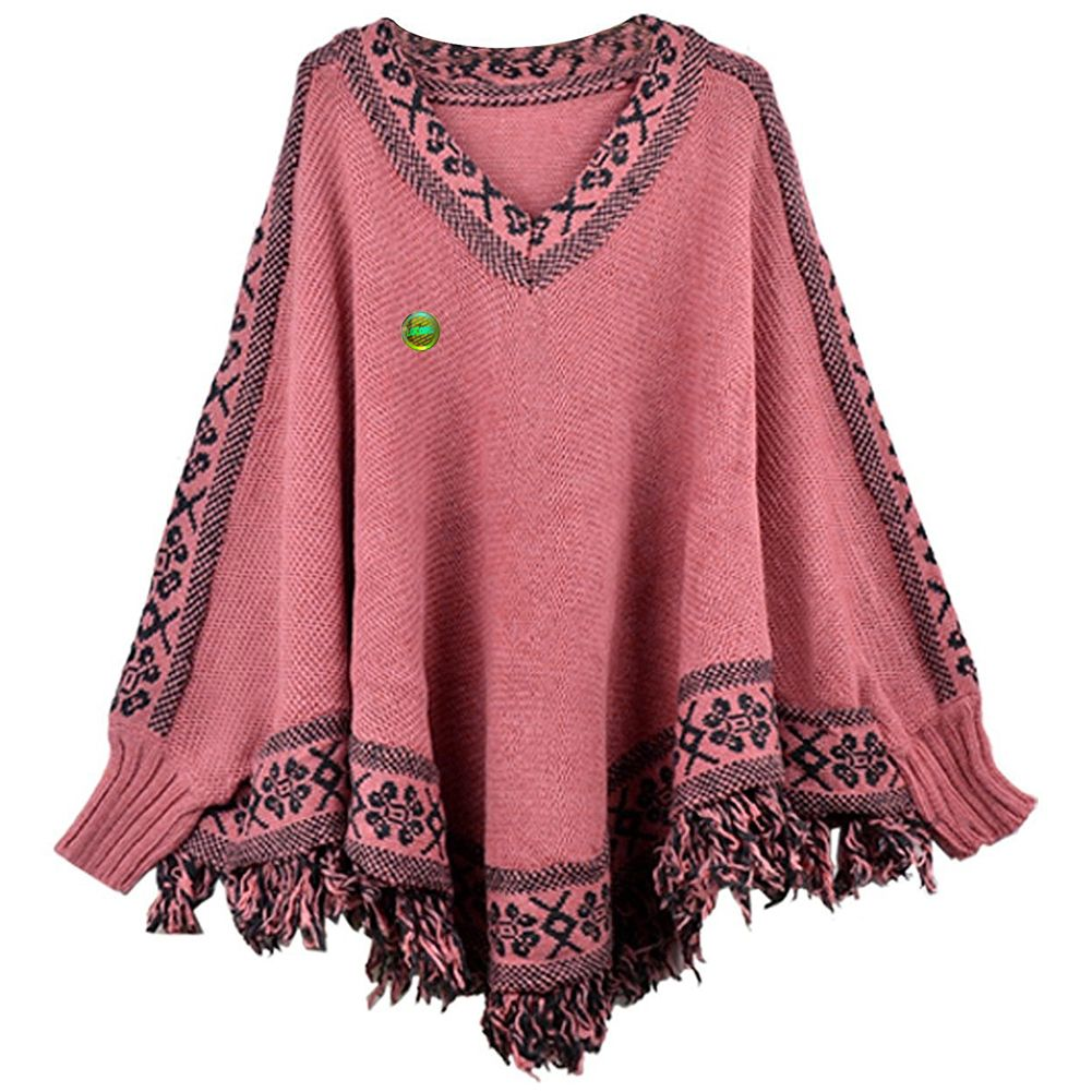 Women Poncho Cape Pullover Sweater Loose Fit Tassel Pink