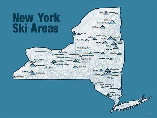 ski resorts new york map New York Ski Resorts Map 18x24 Poster Ski Resort Skiing Map Of