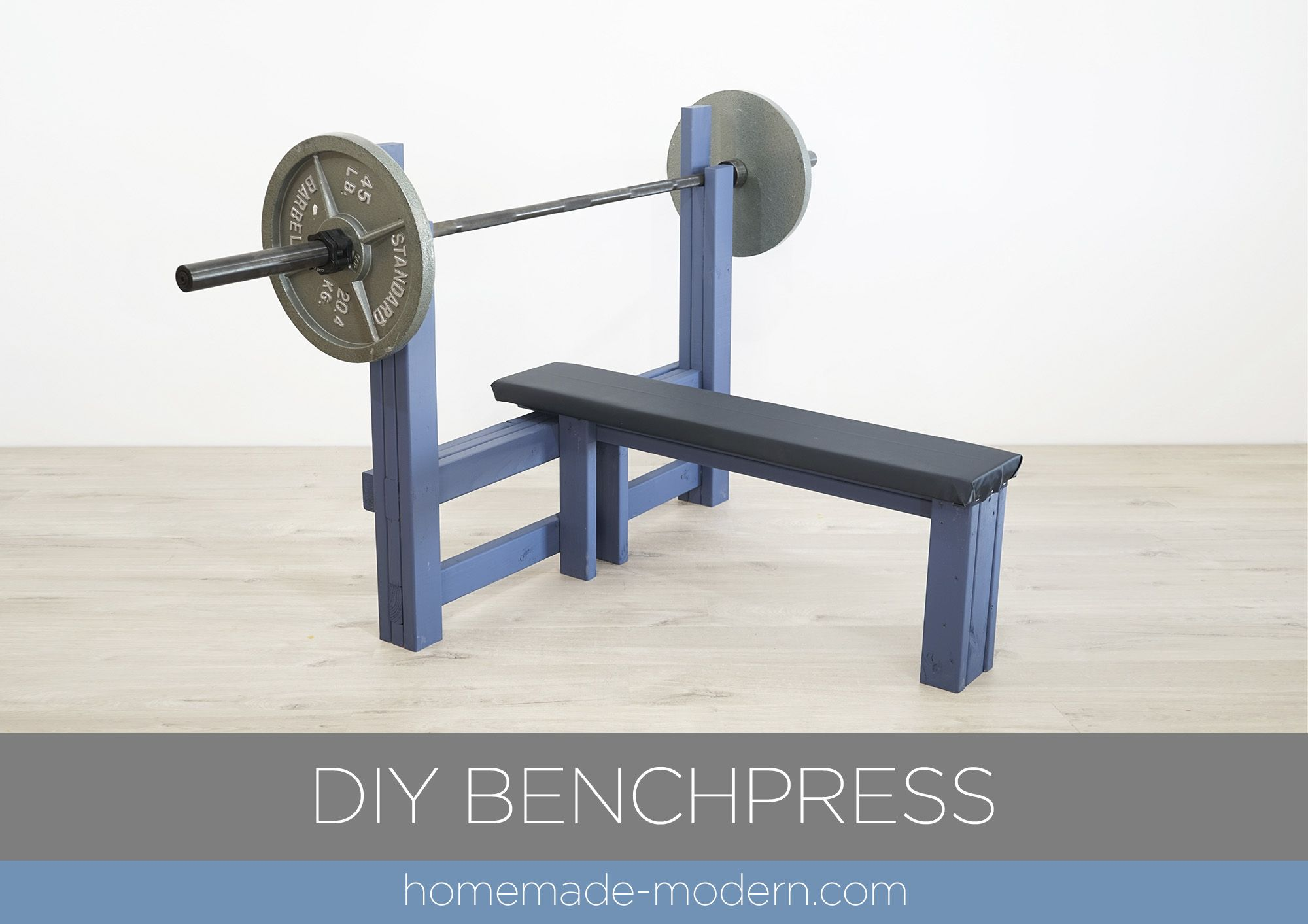 """This DIY weight bench is made out of 2x4s, some ¾"""" plywood"""