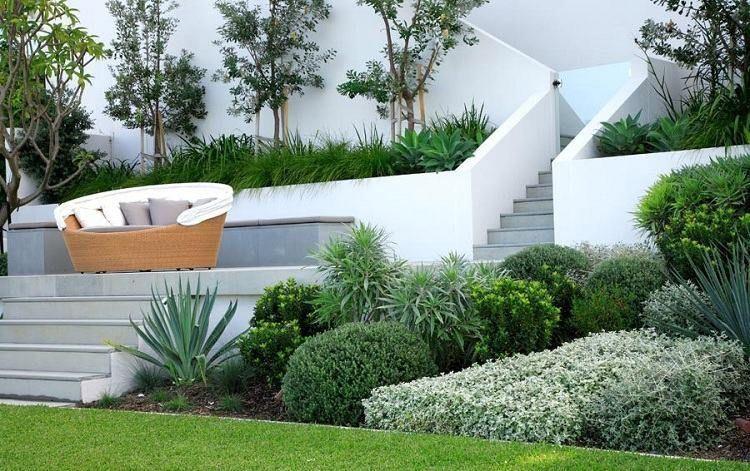 Jardin contemporain–atmosphère accueillante,design élégant ...