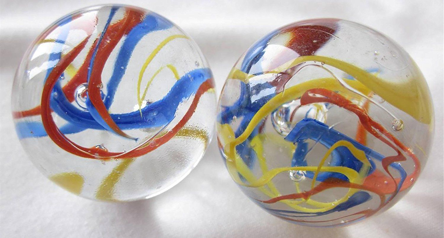 Amazon unique custom 1 58 inch set of 2 huge round unique custom inch set of 2 huge round clear marbles made of glass for filling vases games decor w fun swirled artistic cool family design yellow reviewsmspy