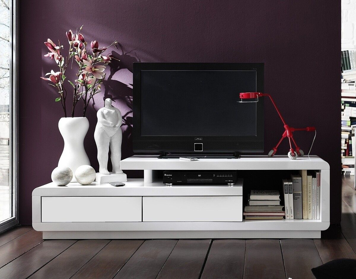 Meuble tv design alice laqu blanc blanc 170 cm tv furniture for Meuble tv 100 cm blanc laque