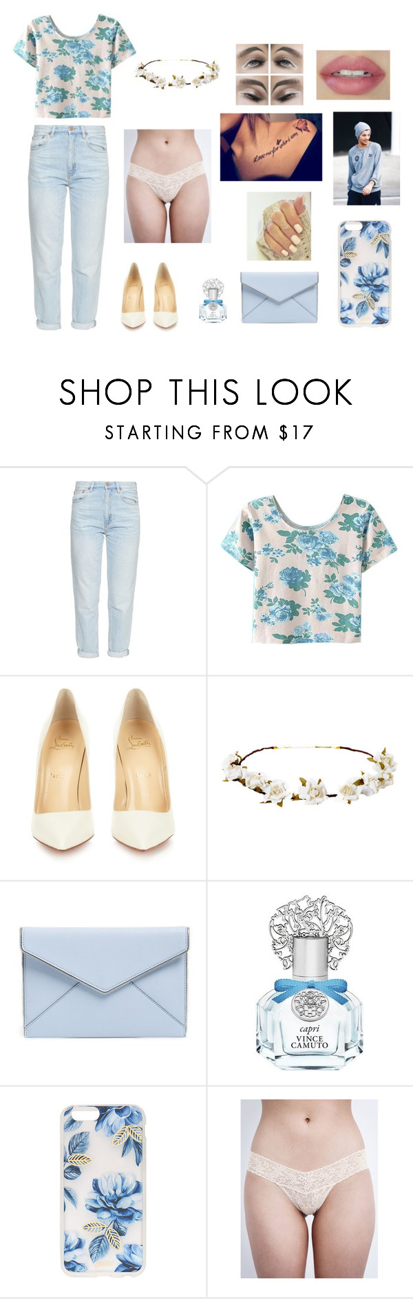 """""""Louis Tomlinson the cross dresser Pt. 11"""" by crazy-for-1d-5sos ❤ liked on Polyvore featuring M.i.h Jeans, WithChic, Christian Louboutin, Cult Gaia, Rebecca Minkoff, Vince Camuto, Sonix and Hanky Panky"""