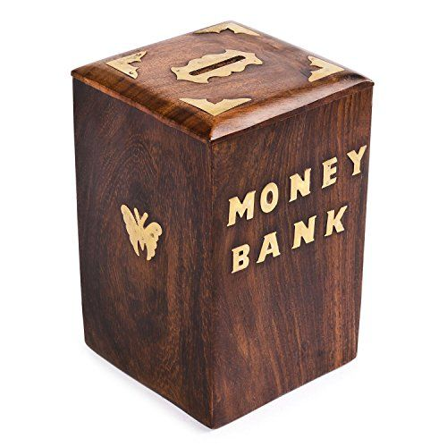 Wooden piggy bank safe money box savings with lock wood c for Money saving box ideas