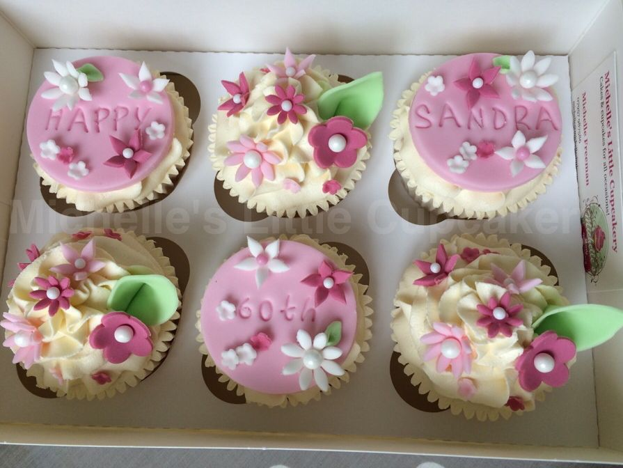 Pretty cupcakes for a 60th birthday Cupcake Decorating Ideas