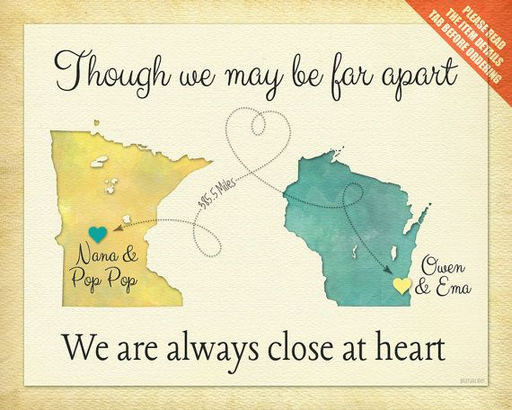 Birthday Gift for Grandma, Long Distance Gift, Always Close at Heart Quote, Personalized Gift for Grandma, Two-Place Map Print (5a) #bestgiftsforgrandparents