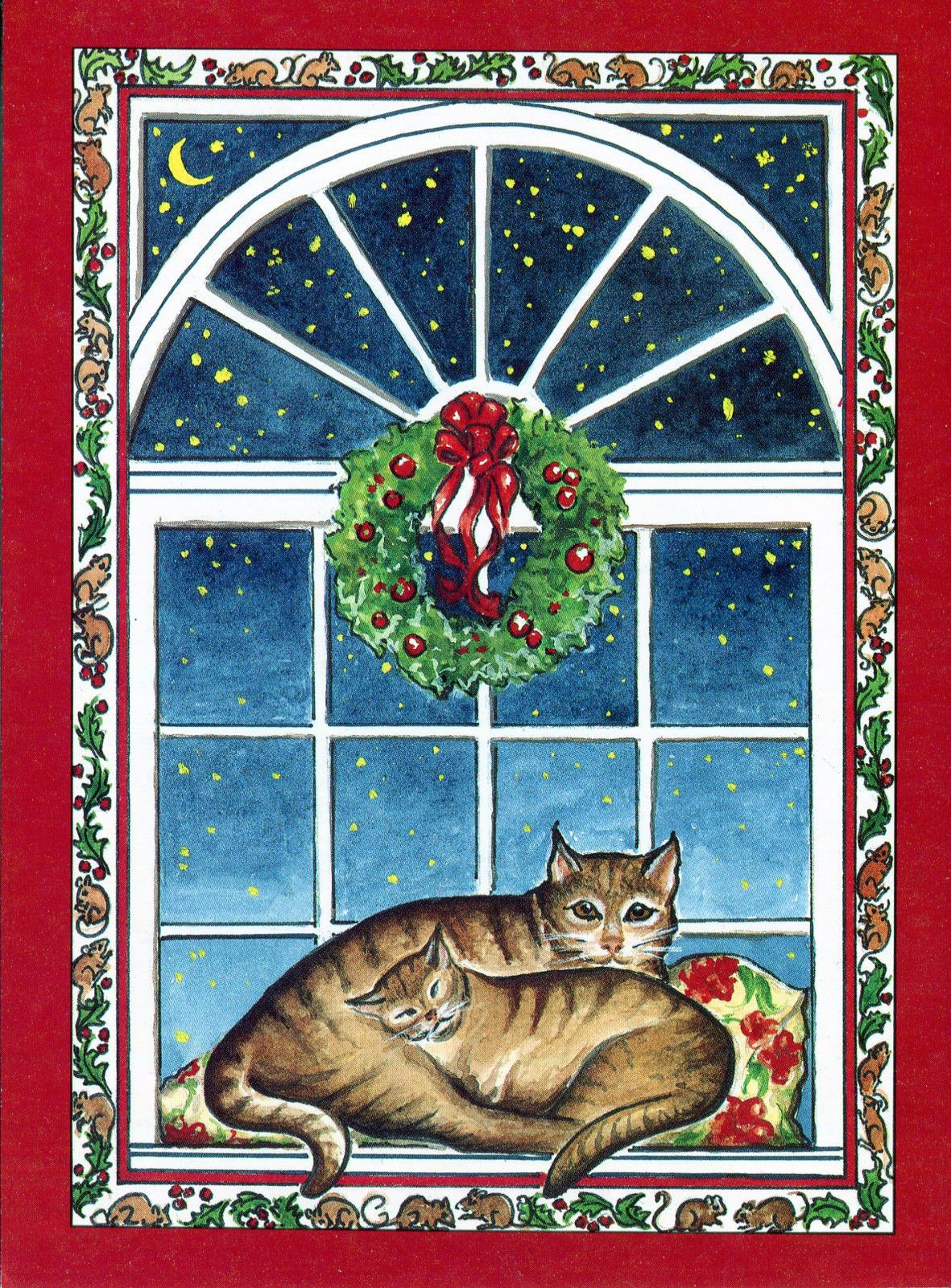 Vintage Burgoyne Christmas Card Tabby Cats in A Window Seat | eBay ...