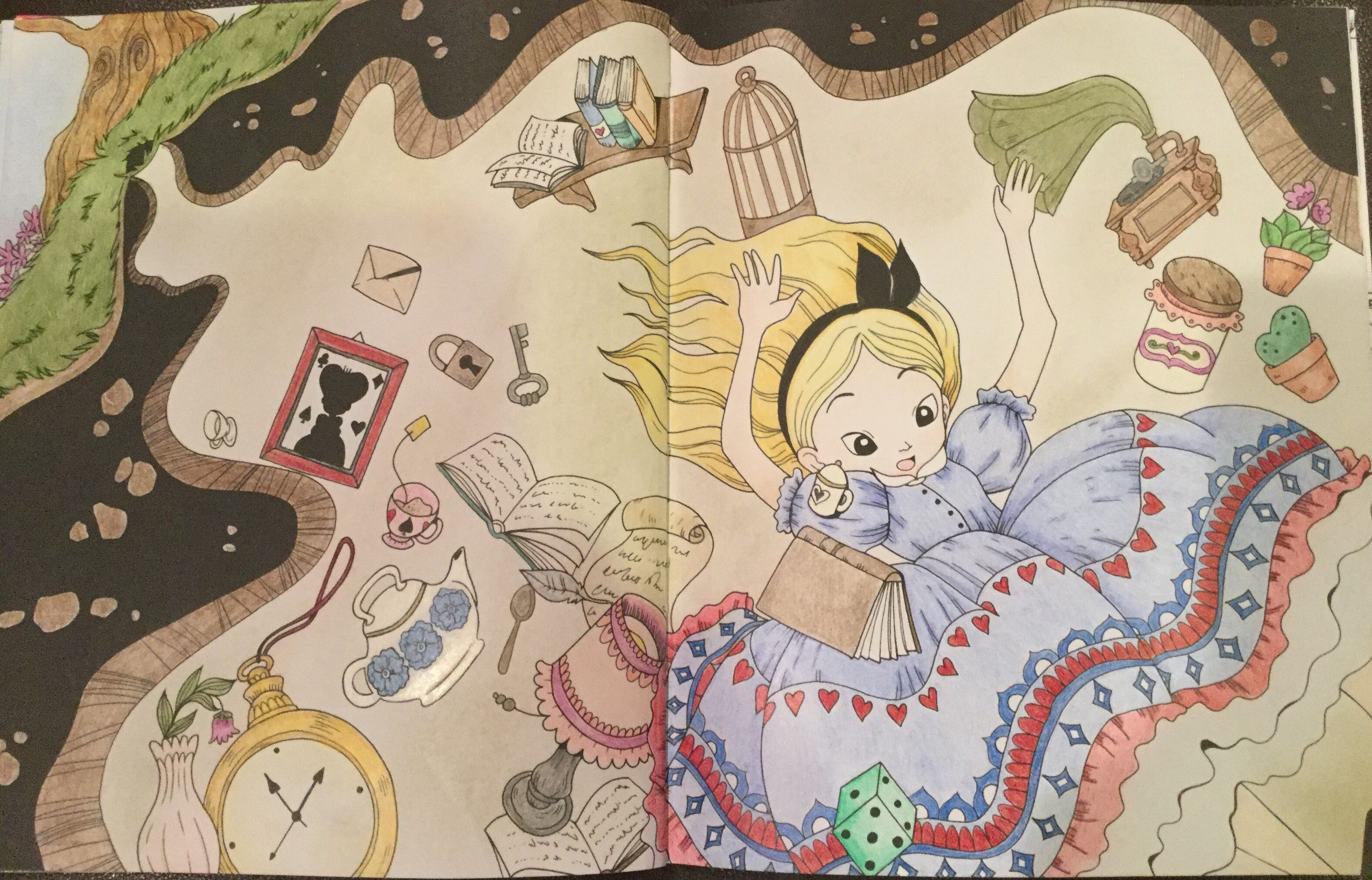 Alice Falling Down In The Rabbit Hole To Wonderland From Alice In Wonderland Coloring Book By Fabiana Attanasio