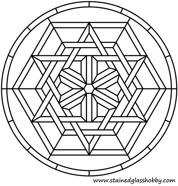 Celtic mosaic coloring pages ~ Star and hexagons Celtic knot stained glass pattern ...