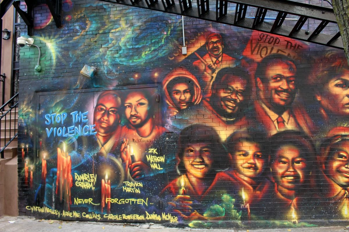 Mural On The Wall Of The National Black Theatre In Harlem Street Art Street Art News Mural