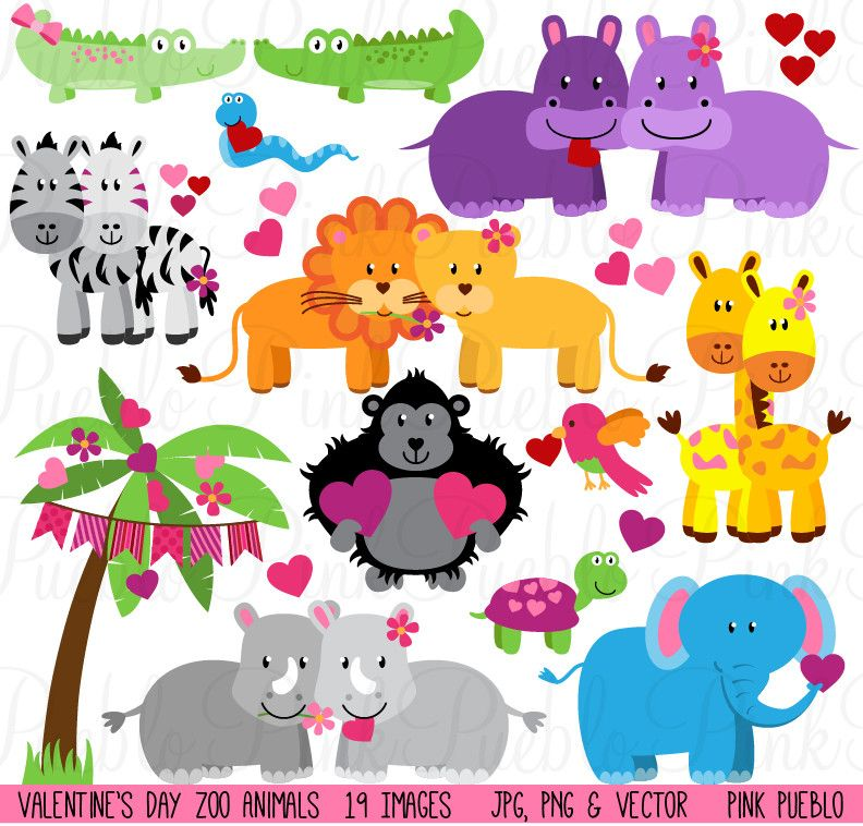 Valentine S Day Zoo Jungle Animals Clipart Pinkpueblo Animal Clipart Animal Illustration Animals Wild