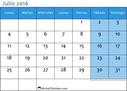 Calendario Julio 2016 July Calendar Printable Template - sample julian calendar
