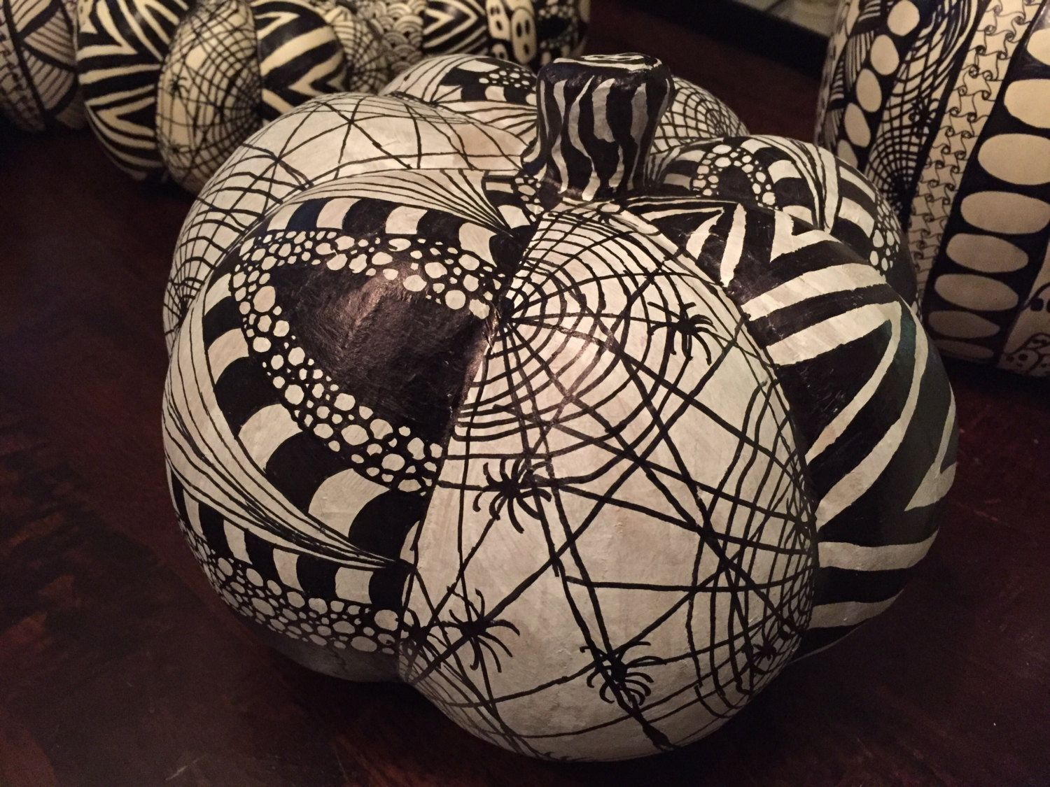 White Artificial Pumpkins Hand Decorated With Zentangle