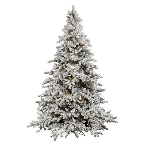 4 5ft Christmas Tree Decoration Vintage Snow Flocked Led Lighted Base Prelit Set