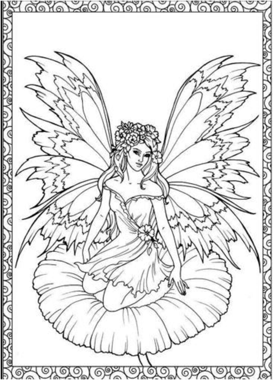 Adults Coloring Book Fairies Flower Forest Design Stress Relief Patterns Color Fairy Coloring Pages Fairy Coloring Fairy Coloring Book