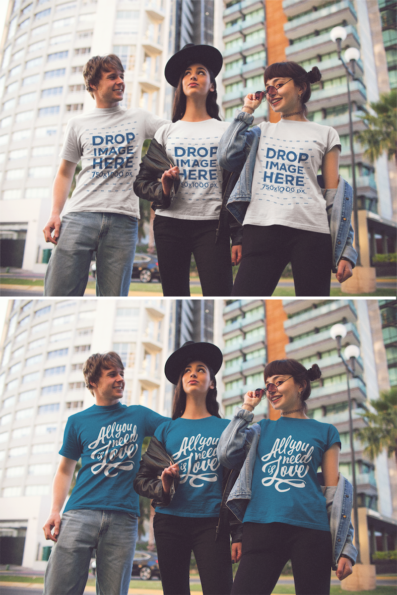 Download Placeit Three Young Friends Wearing Different T Shirts Mockup While In The City Clothing Mockup How To Wear Shirt Mockup