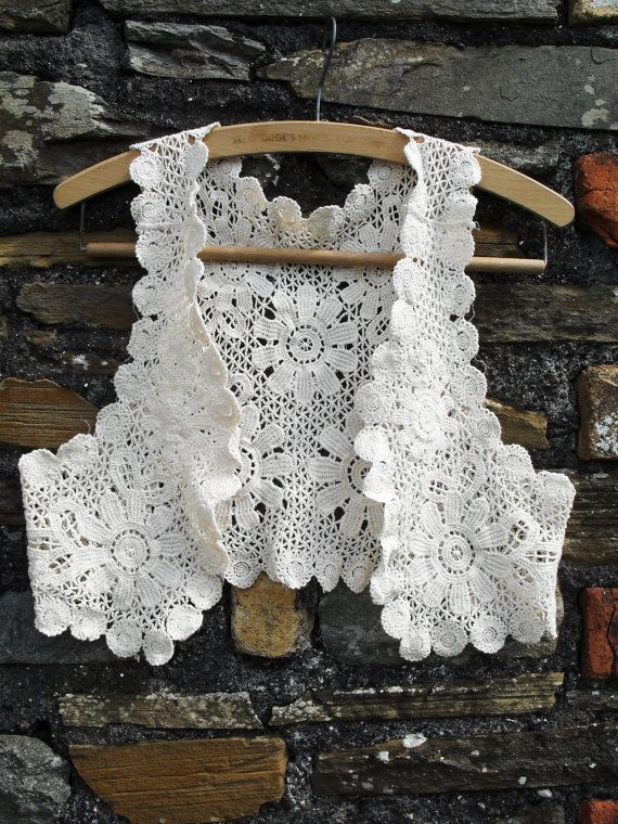 Vintage GUIPURE lace crochet embroidered Waistcoat Vest Hippie hippy ...