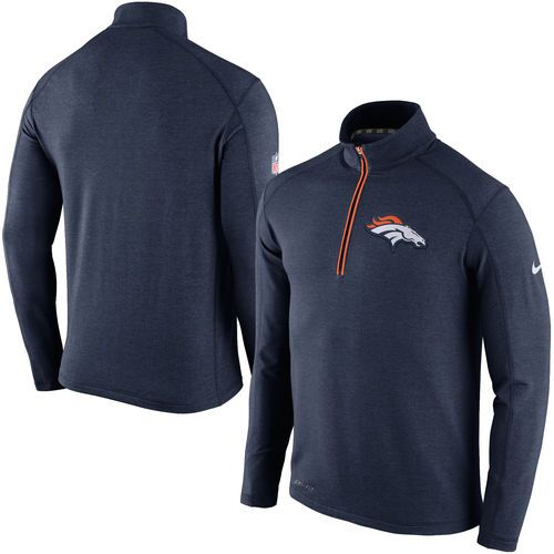 d2086caf0 Denver Broncos Nike Game Day Half-Zip Knit Performance Tri-Blend Jacket -  Navy