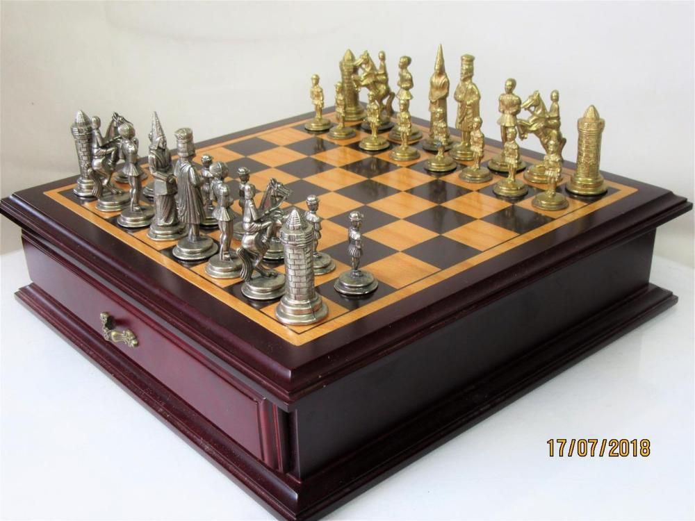 VINTAGE CHESS SET KING ARTHUR BY ITALFAMA AND NICE CHESS CABINET