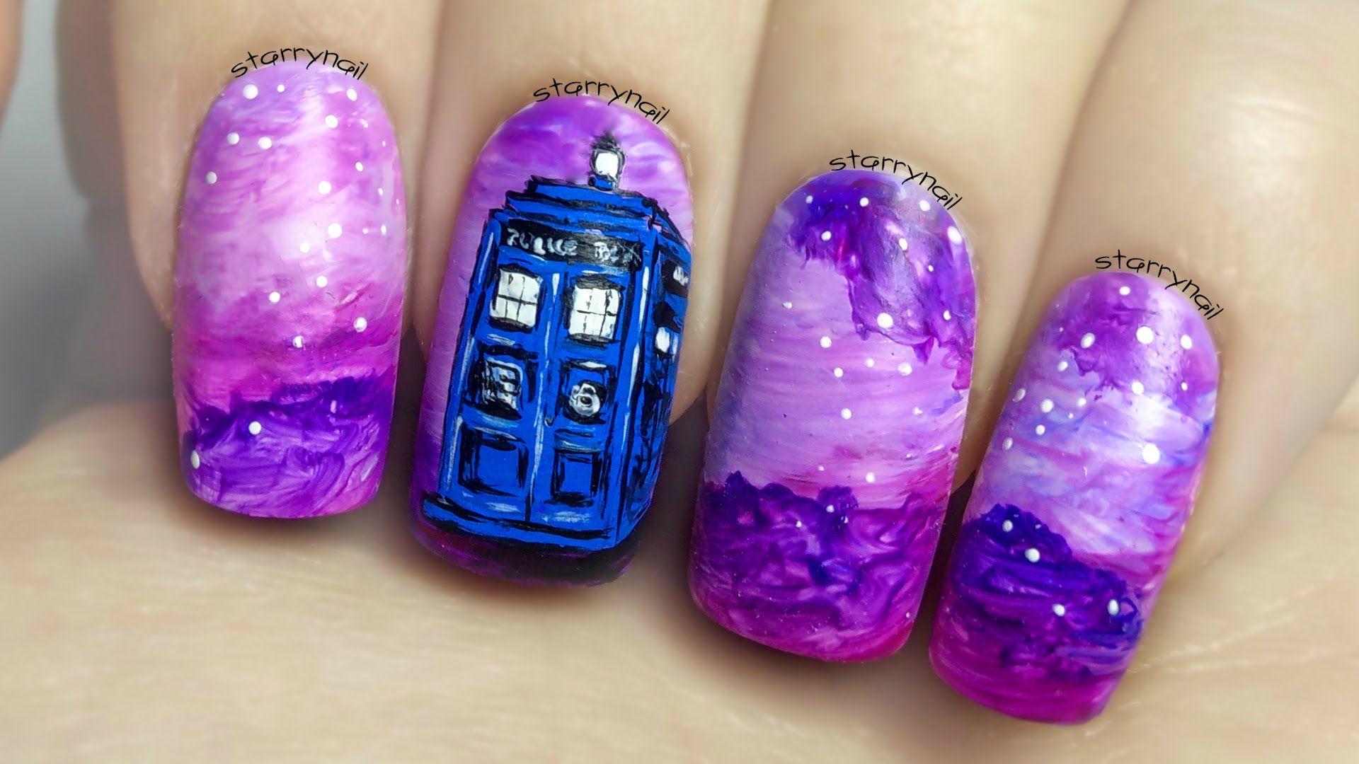 Tardis ⎮ Doctor Who⎮ Freehand Nail Art Tutorial | Beauty Nails ...