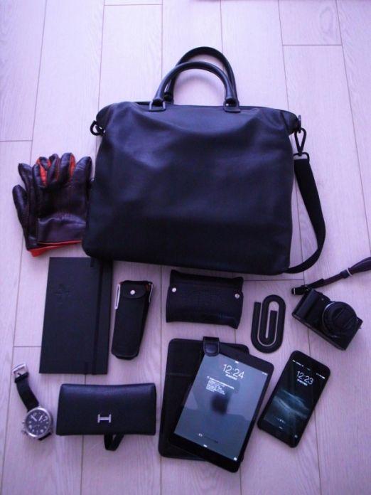 環境デザイナーのバッグと中身。...