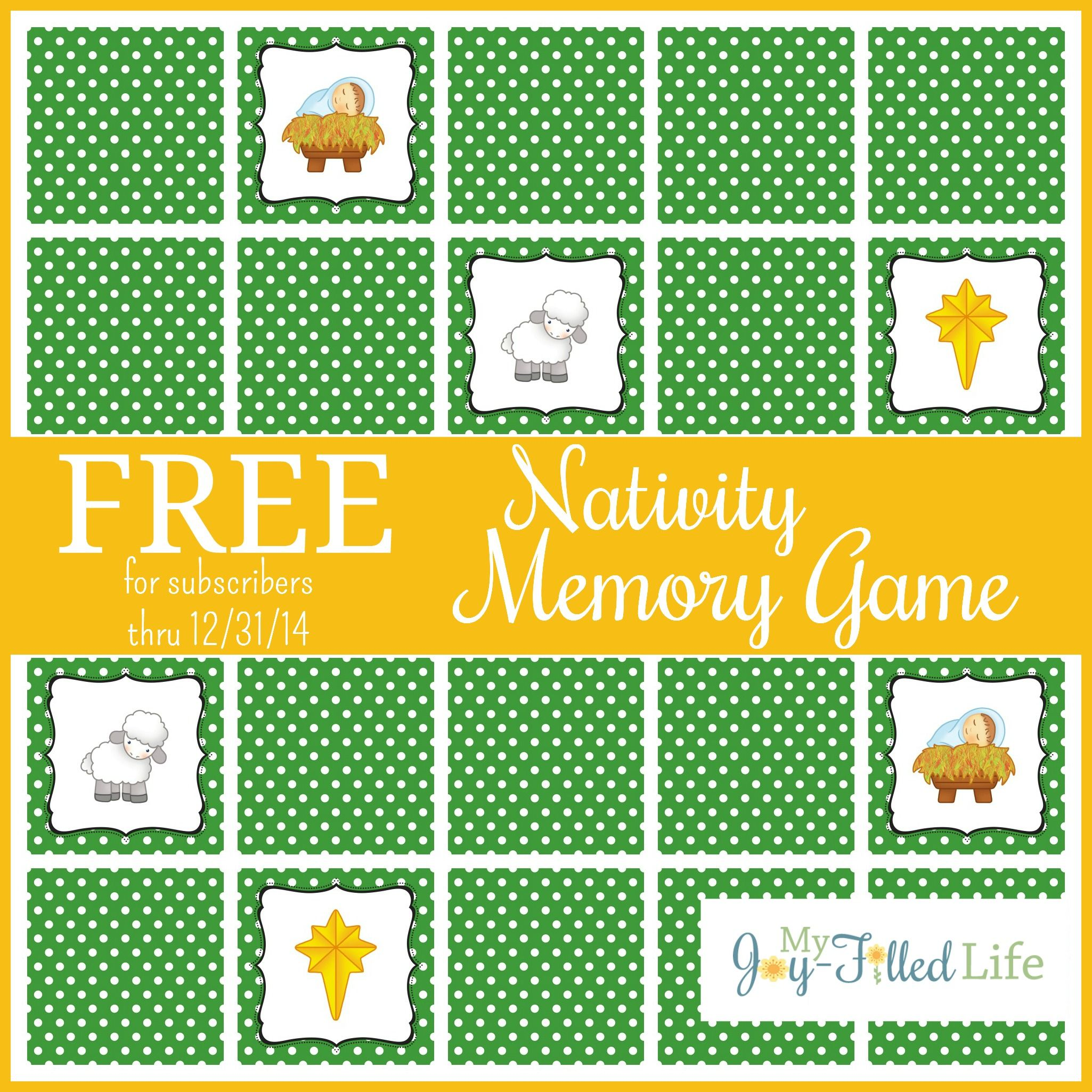 Printable Nativity Memory Game | Free printable