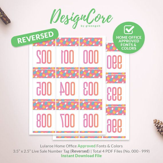 Lularoe Facebook Live Sale Reversed Mirrored Number Tag, 000 - 999, Home Office Approved, Pineapple Fruit, Instant Download, Clean, DCLST010