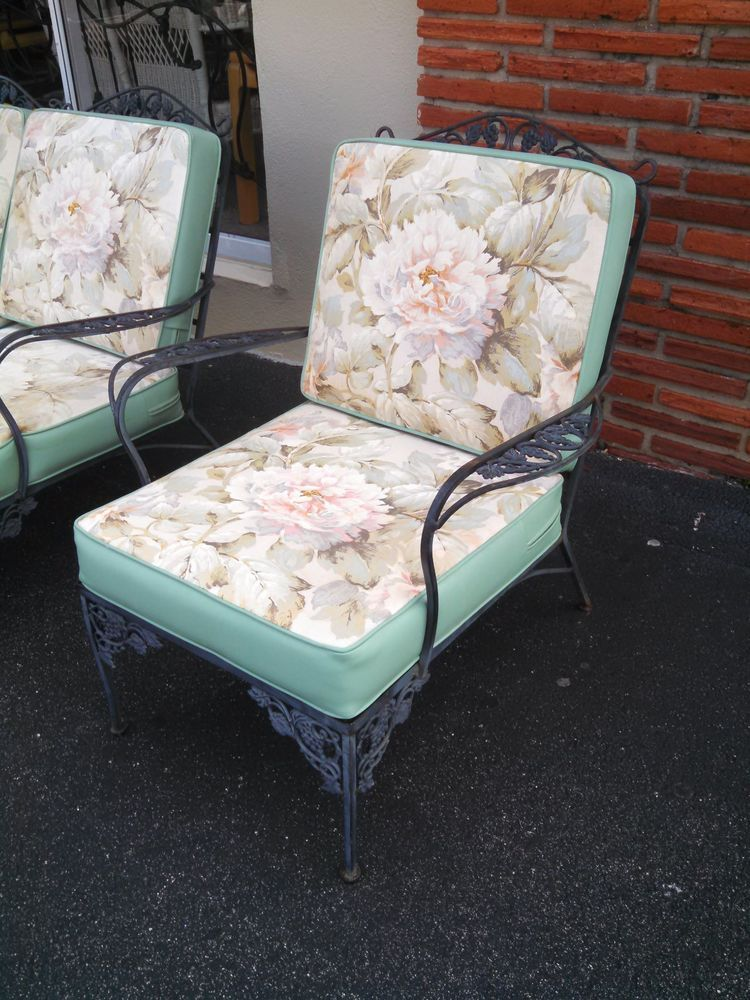 Vintage Wrought Iron Patio Furniture Chair With Cushions Ebay