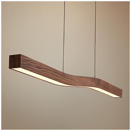 Cerno Camur 56 Wide Oiled Walnut LED Island Pendant FinishIsland PendantsDark StainsLed SignsIsland LightingFloor