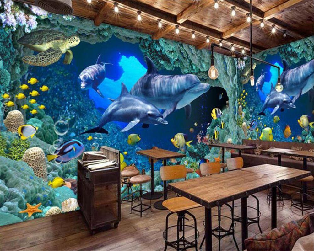 Beibehang Custom Wallpaper Blue Underwater World Dolphin Theme Restaurant Bar Background Living Room Bedroom Mu Custom Wallpaper Photo Wallpaper Bedroom Murals Underwater living room background