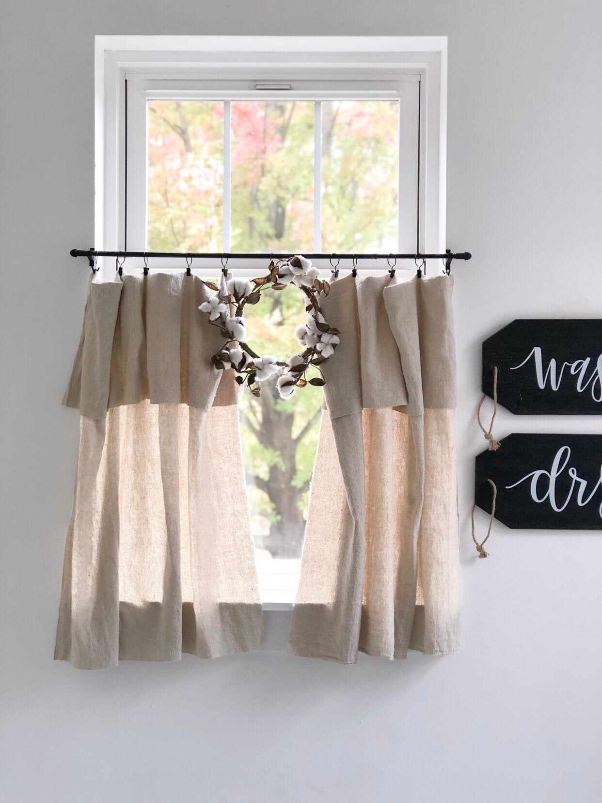 Drop Cloth Cafe Curtains Curtains Cafe Curtains Small Window Curtains