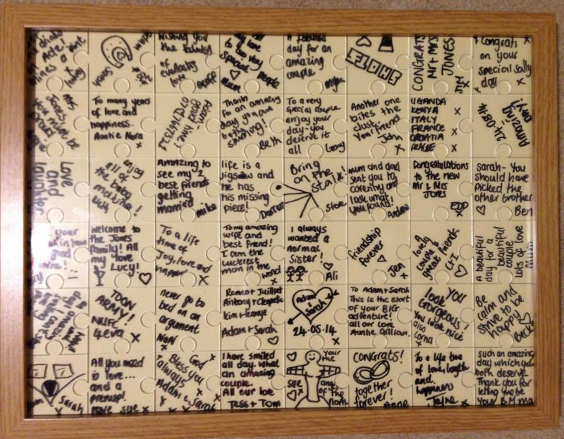 Wedding Puzzle Jigsaw Guestbook. What an amazing idea, I'm definitely going to buy one of these for my wedding. They look so good when completed.