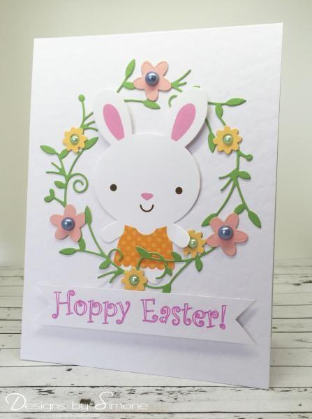 Easter Bunny Wreath Card