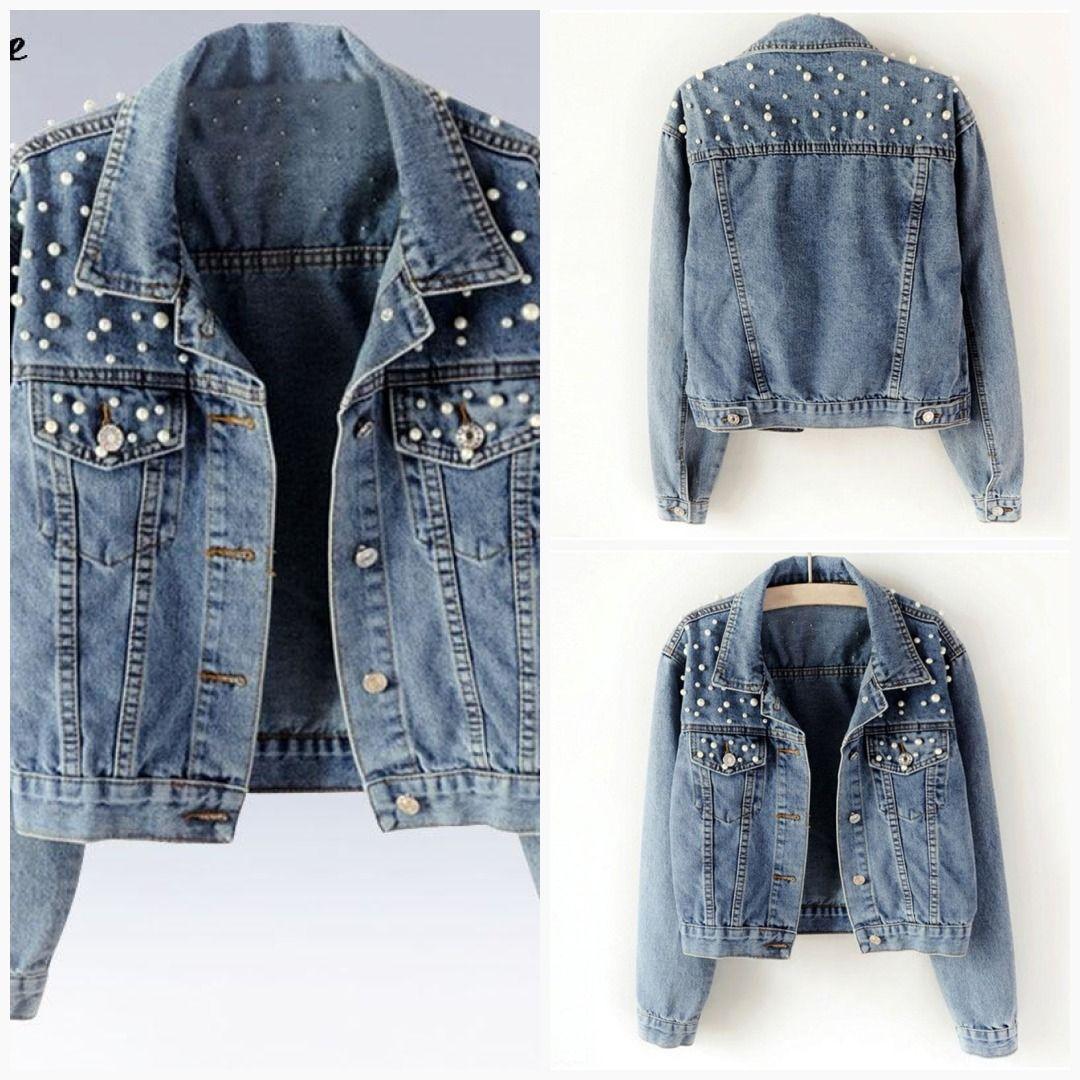 Plus Size Pearl Jean Jacket Denim Jacket Women Diy Denim Jacket Denim Ideas [ 1080 x 1080 Pixel ]