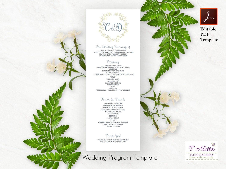 Wedding Program Template Program Template Download Romantic