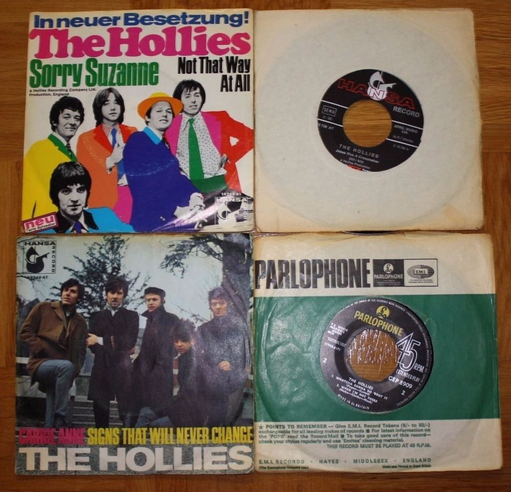 3x THE HOLLIES SINGLES SORRY SUZANNE CARRIE ANNE + 1x THE HOLLIES EP
