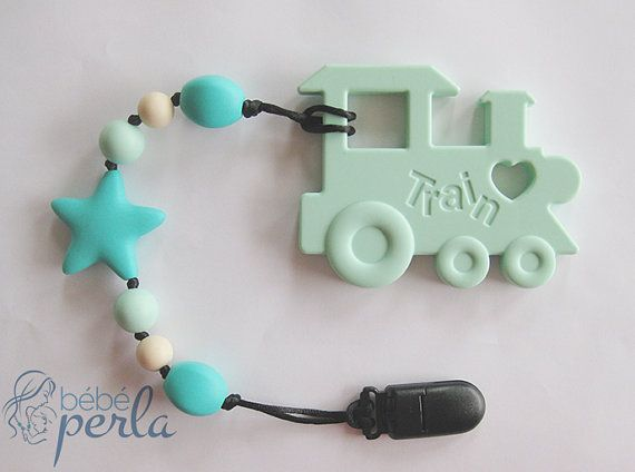 Bebe Perla™ Silicone toy Train Clip to clothing by BebePerla