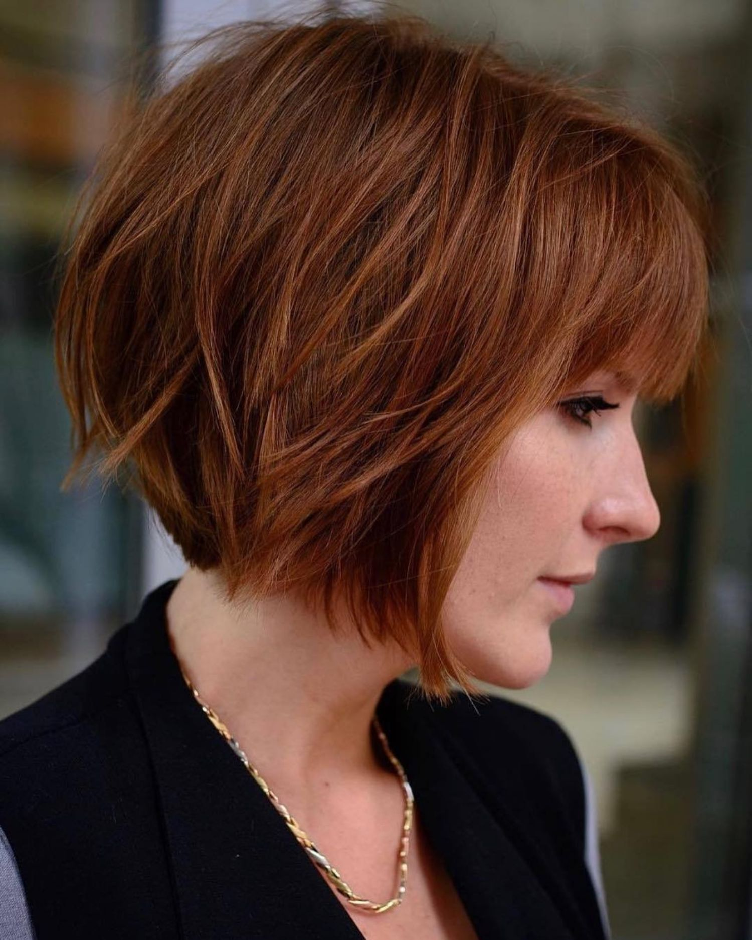 Sliced Copper Bob with Bangs