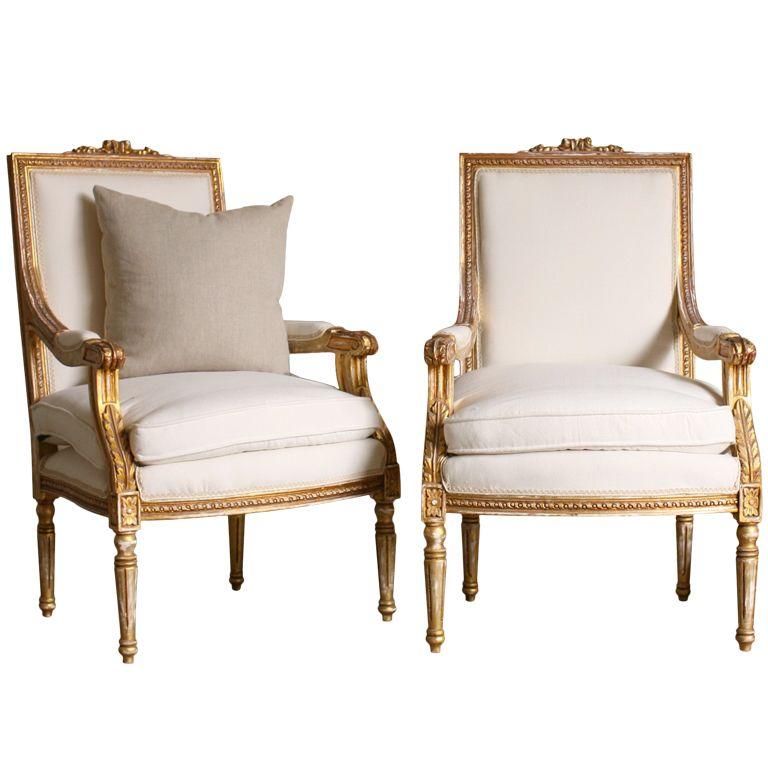 Pair Louis Xvi Style Armchairs 1stdibs Com French Style Chairs Classic French Chairs French Style Armchair