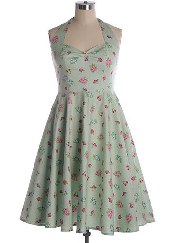 Fun and flirty full skirted retro frock from Hell Bunny with strawberry, cherry, and floral prints. Halter top. Sweetheart bust line. Smock back. Indie, Retro, Party, Vintage, Plus Size, Convertible, Cocktail Dresses in Canada Berry Picking Dress in Mint -
