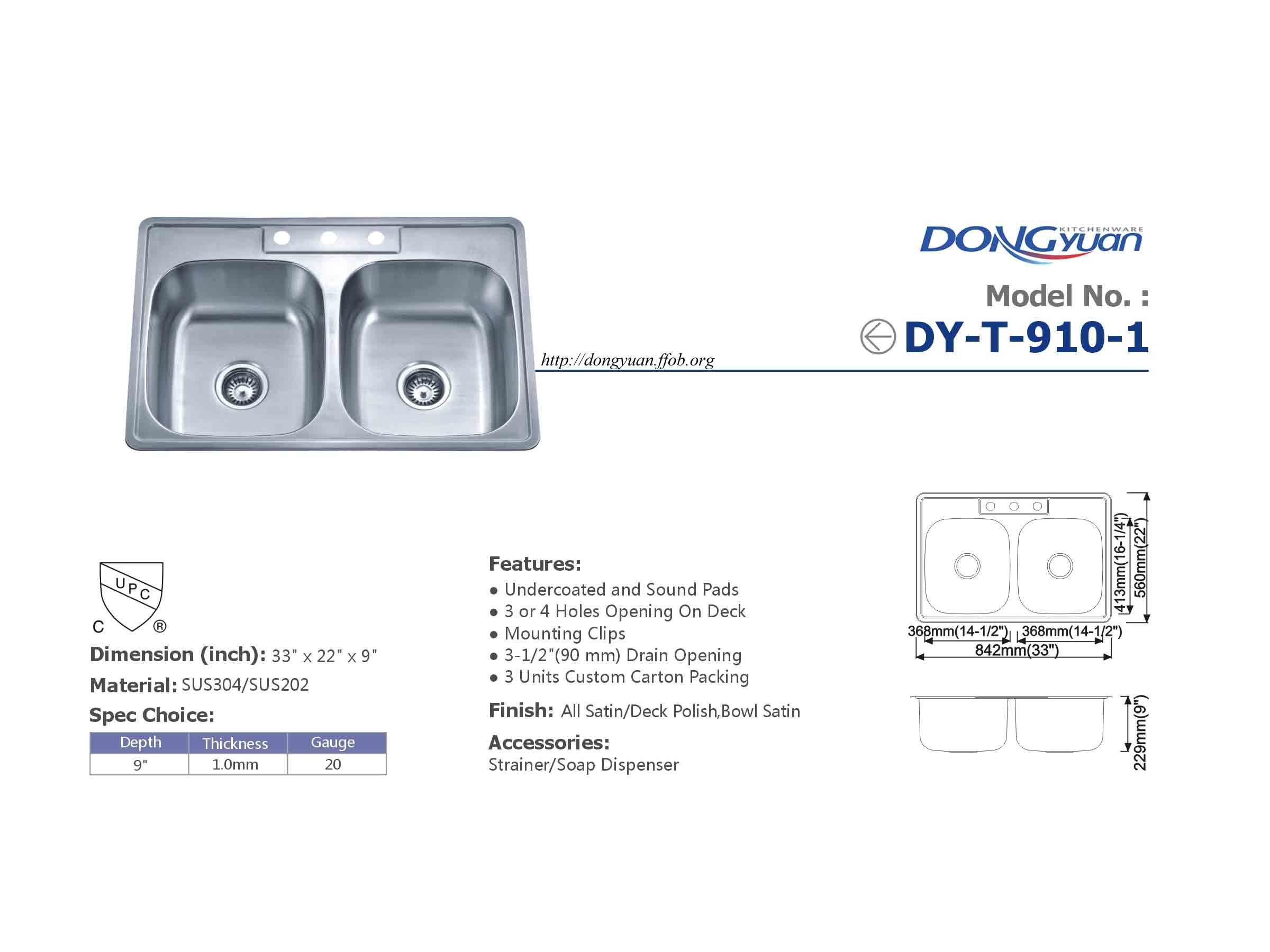 Dongyuan - 33 inch #304 Stainless Steel 18 Gauge Double Bowls 50/50 drop in Kitchen Sink