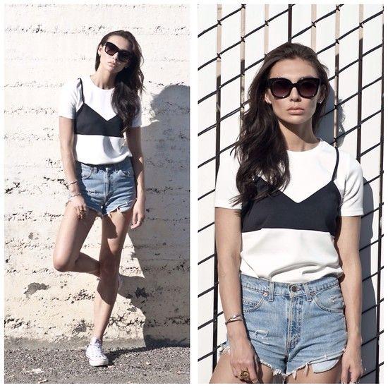 Front Row Shop Fake Bra T Shirt, Levi's® Vintage Cutoffs, Céline Audrey Sunglasses