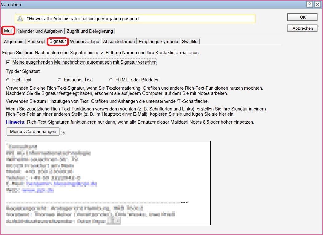 E Mail Signatur Auswahlen Einstellen Flowfact 15