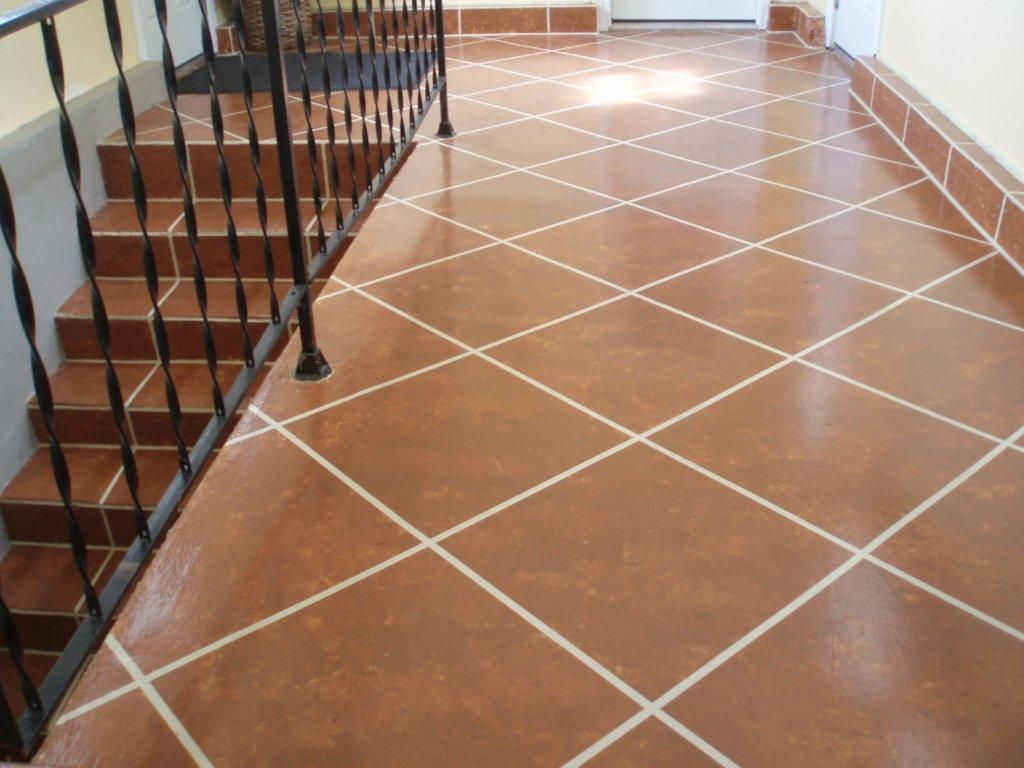 Painted concrete floor the floor was first painted the tan grout painted concrete floor the floor was first painted the tan grout color dailygadgetfo Images