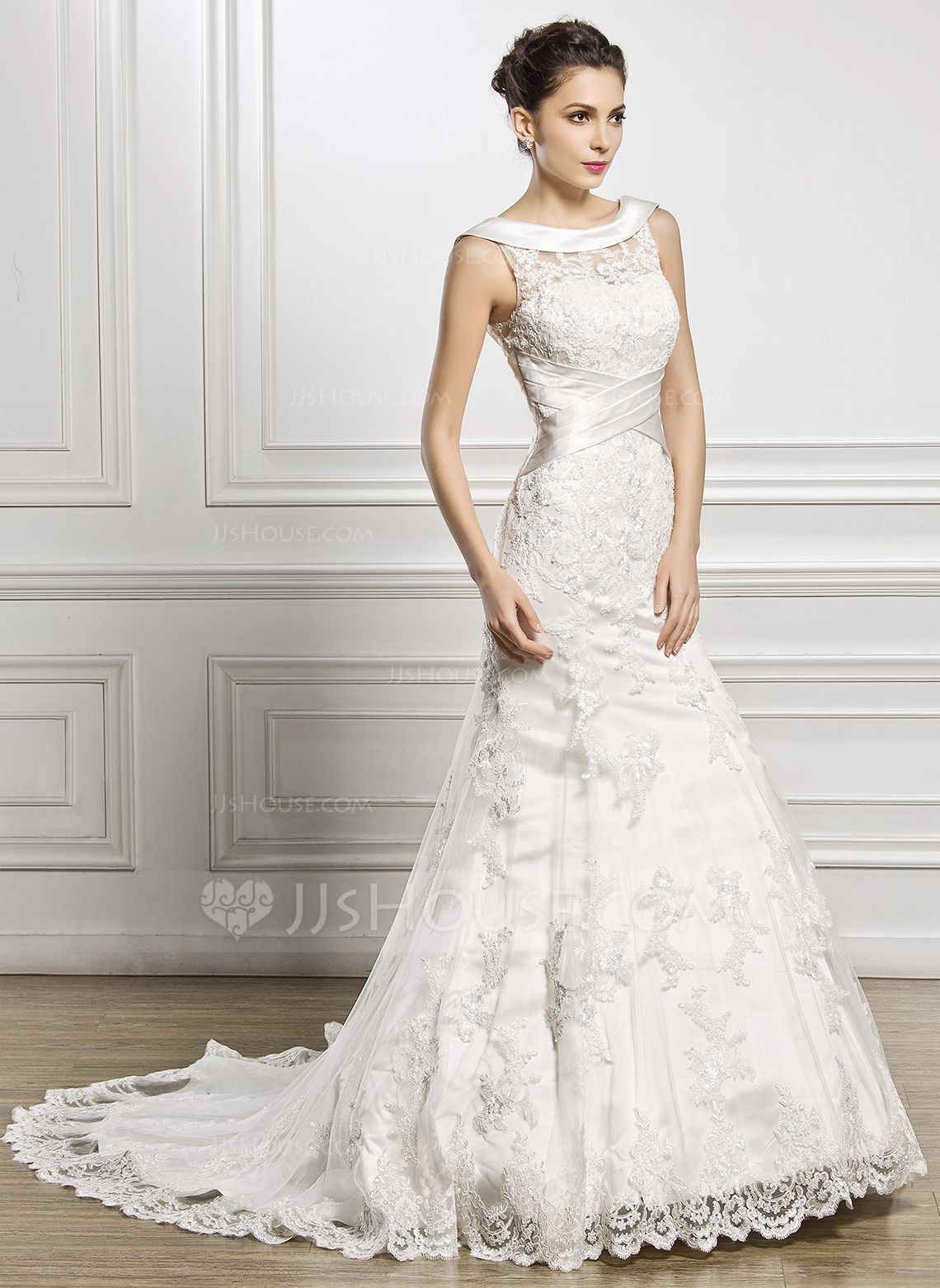 cc735485730a Trumpet/Mermaid Scoop Neck Court Train Satin Lace Wedding Dress With Ruffle  (002056967) - JJsHouse