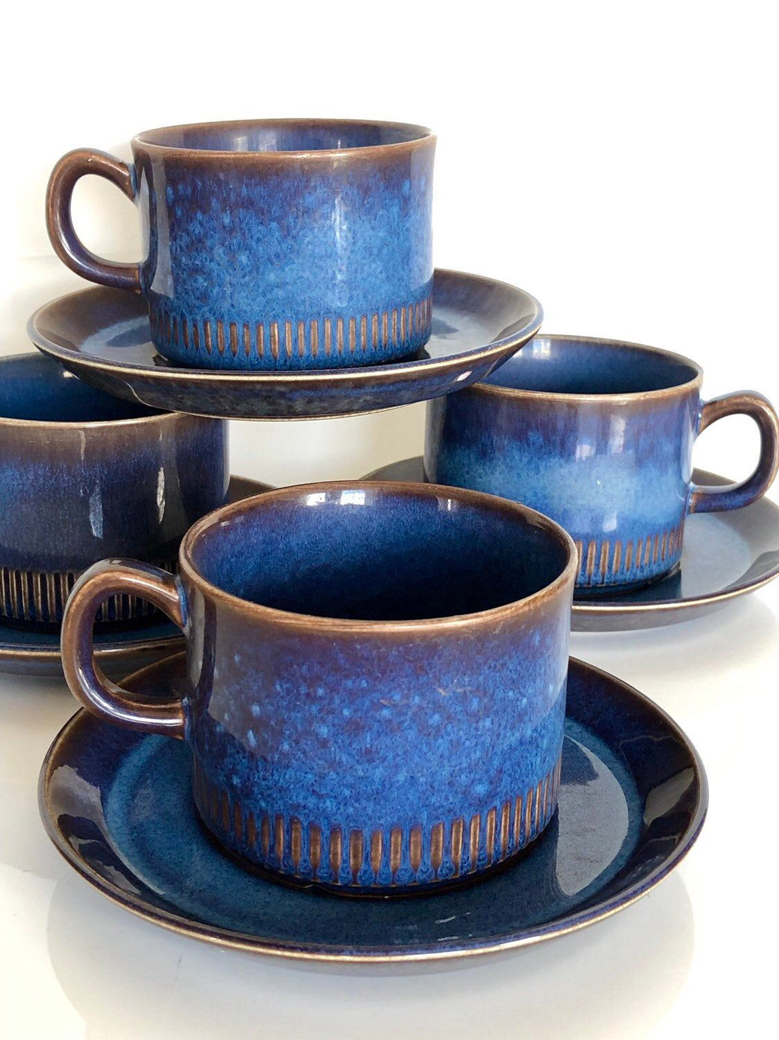 Midcentury modern Cosmos coffee cups and saucers by Berit