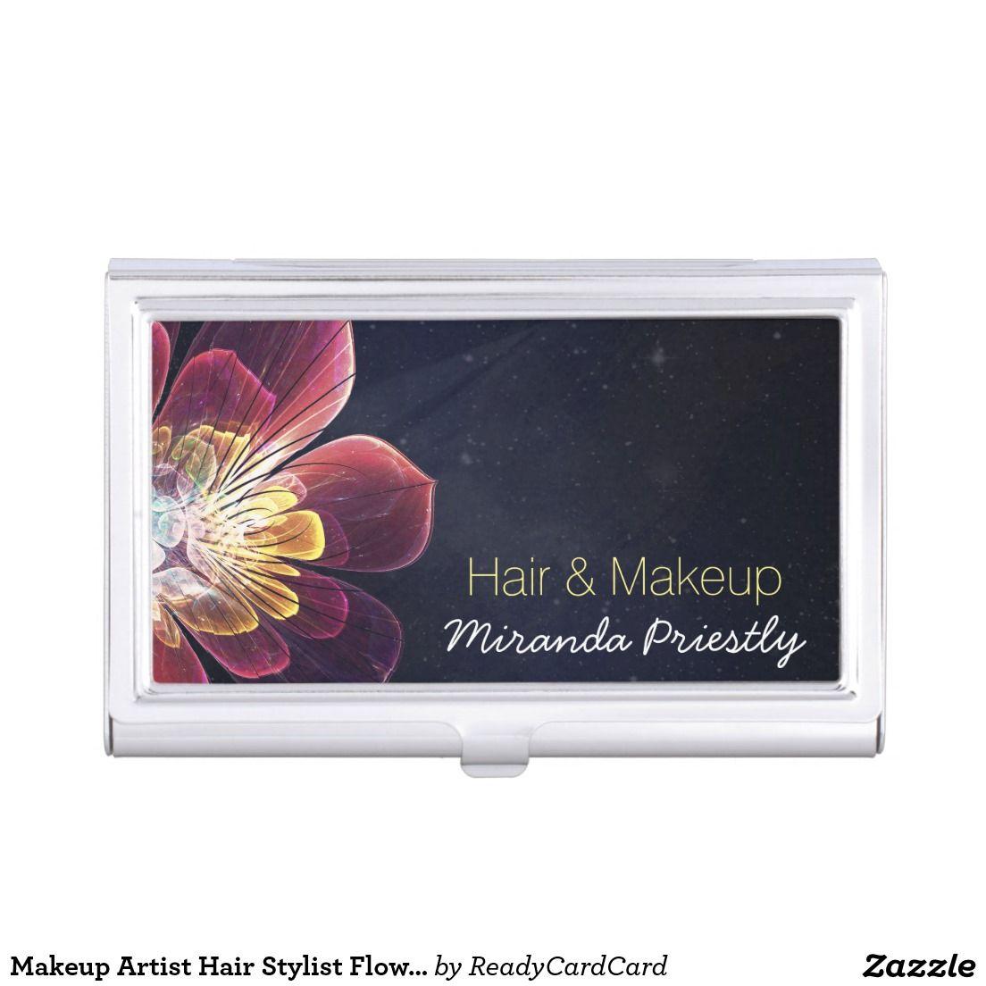 Makeup Artist Hair Stylist Flower Business Card Holder   Stylists ...