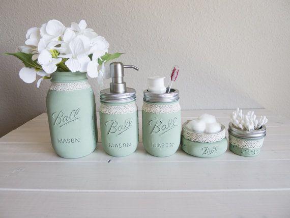 Hand Painted Mason Jar Bathroom Set Farmhouse Bathroom Decor