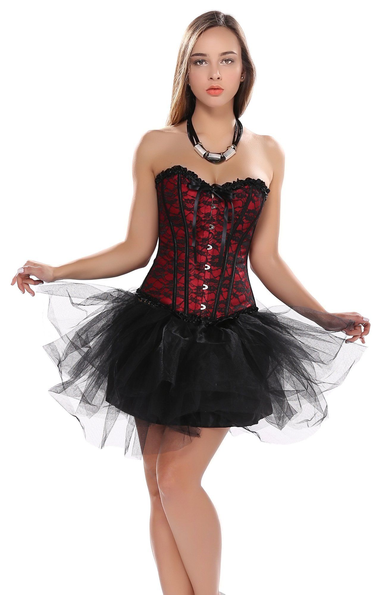 Blidece Women Corset Bustiers Top Plus Size Sexy Lingerie Skirt Tutu Dress Set. Fully adjustable criss cross ribbon laced back. 3 pieces, including 1 top corset,1 skirt, and 1 matched G-string. Corsets are sized by waist size, so please choose your corset according to your waistline, not your bust. Our corsets are perfect for clubbing, intimate or naughty occasions. Jeans, skirt, or any other type of slim-fitting pant will look great with a corset. Blidece is registered trademark and is...